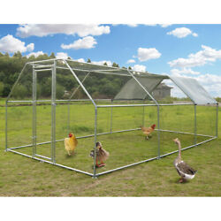Large Metal Chicken Coop Flat Roofed Hen Run House with Cover 9.2#x27; L x 18.4#x27; W