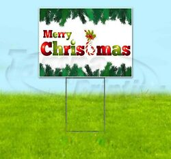 Merry Christmas 18x24 Yard Sign Corrugated Plastic Bandit Lawn Business Holidays