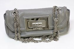 Cc Gray Leather Mademoiselle Lock Small Flap Bag