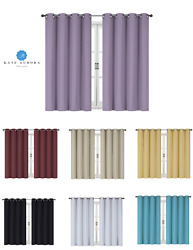 100 Thermal Blackout Bath And Kitchen Window Curtains - Assorted Colors And Sizes