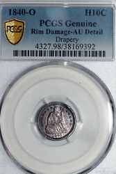 Bette Date 1840-o With Drapery Seated Half Dime Pcgs Graded Au Detail Damage