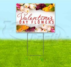 Valentineand039s Day Flowers 18x24 Yard Sign Corrugated Plastic Bandit Lawn Usa