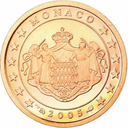 [726835] Monaco, Euro Cent, 2005, Be, Ms65-70, Copper Plated Steel