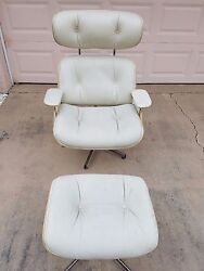 Signed Plycraft White Leather Eames Style Lounge Chair Ottoman Rare Blonde Wood