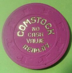 1980and039s Comstock Casino Reno Nv. Purple No Cash Value Chip Great For Collection