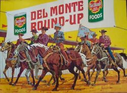 Del Monte Round Up Foods 1962 Vintage Advertising Poster 41x57 Cowboys Very Rare