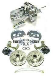 1964-1972 A Body Slotted Stock Disc Brake Conversion W/ 11 Chrome Booster Kit