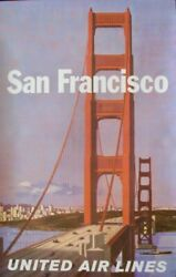 United Airlines San Francisco 1964 A Vintage Travel Poster 25x40 Stan Galli Nm