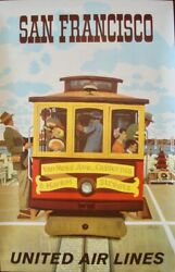 United Airlines San Francisco 1964 B Vintage Travel Poster 25x40 Stan Galli Nm