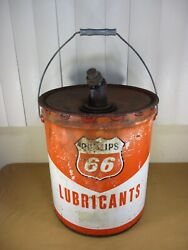 Vtg Phillips 66 Lubricant 5 Gallon Oil Can W/ Screw Off Spout C.1950and039s/1960and039s