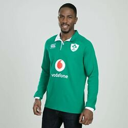 Canterbury Ireland Home Long Sleeve Classic Shirt 2019 2020 Mens Rugby Green Top