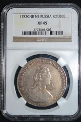 1782 Russian Impire Silver Coin One 1 Rouble Ruble Ngc Xf45 Russia
