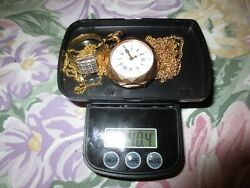 Lot 18K Gold Jewelry,Ring,Curb Necklaces,Pocket Watch CIRCA 1900s Scrap 45 Grams