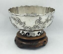 Antique Chinese Export Silver Applied Birds And Prunus Decorations,wahshing Canton