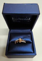 Enchanted Disney Fine Jewelry 1/5 Ct 10k Two Tone Gold Belle Ring Size 8
