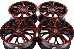 4 New DDR R25 17x7 5x100/114.3 40mm Black Polished Red 17