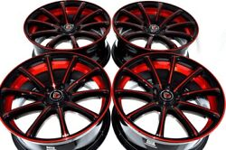 4 New DDR Elite 18x8 5x114.3 38mm Black/Polished Red/Undercut 18