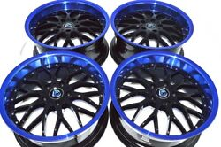 4 New DDR R6 18x8 5x114.3 35mm Black Blue Lip 18