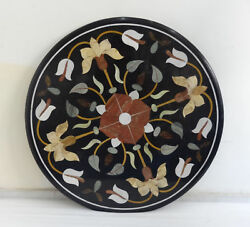 36 Marble Round Coffee Table Top Inlay Pietra Dura Work With Marble Stand