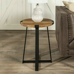 Round End Side Table Rustic Reclaimed Farmhouse Industrial Wood Metal Living Roo