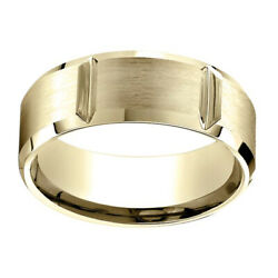 18k Yellow Gold 8.00 Mm Comfort-fit Menand039s Wedding And Anniversary Band Ring Sz-9