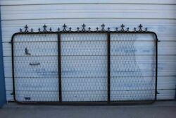 Antique Architectural Cemetery Gate With Decorative Cast Iron Finials 8 Ft. Wide