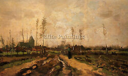 Vincent Van Gogh Landscape With Church And Farms Artist Painting Handmade Canvas