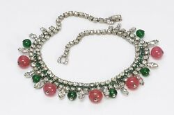 Weiss 1950's Tutti Frutti Silver Tone Green Pink Glass Beads Crystal Necklace