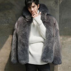 Menand039s Real Fox Fur Coat Fluffy Winter Warm Whole Skin Overcoat Fashion Outerwear
