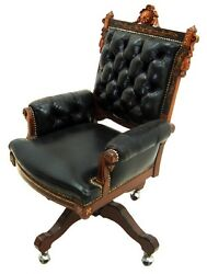 Victorian American Inlaid Swivel Chair In Leather 1800-1899 1943