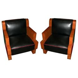 Pair Of Burled Maple Art Deco Chair France 1900-1950 5988
