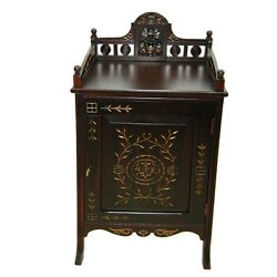 American Aesthetic Movement Rosewood And Cherrywood Gilt Incised Cabinet 7268