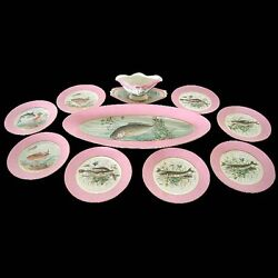 Hand Painted Fish Plate Set By Haviland And Co C.1920. 5586