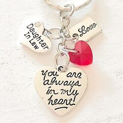 Daughter In Law Gift Of Love You Are Always In My Heart Silver Charm Keychain