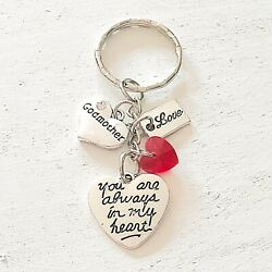 Godmother Gift Of Love You Are Always In My Heart Silver Charm Keychain
