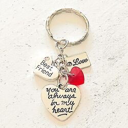 Best Friend Gift Of Love You Are Always In My Heart Silver Charm Keychain $10.96