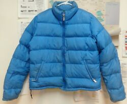 The North Face NorthFace Women#x27;s Large L blue down puffer jacket CUTE $49.99