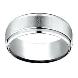 Jewelry 18k White Gold 7.00 Mm Comfort-fit Menand039s Wedding Band Ring Sz-9