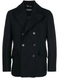 Dolce And Gabbana Black Pea Coat Brand New With Tags Size 46 - Sold Out Everywhere