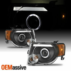 For 2008-2012 Ford Escape Led Halo Projector Black Housing Headlights [rh + Lh]