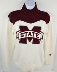 MIssissippi State Bulldogs Women's Chenille Letter Cheer Sweater Turtle Neck XS