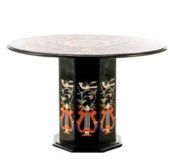 36 Marble Center Black Table Top Handmade Inlay With Marble Stand