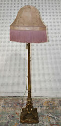 Rare Antique 1890s Carved Gilded French Louis Xvi Floor Lamp Silk Shade Wow