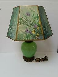 Vintage Collectible Green Glass Lamp With Floral Shade