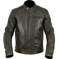 Armr Moto Hiro Classic Motorcycle Motorbike Traditional Leather Jacket- Brown