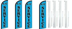 Ac Services Windless Flag With Complete Hybrid Pole Set- 4 Pack