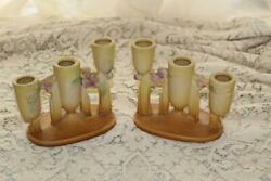 Roseville Pottery 2 Yellow Ixia Triple Candlesticks Candle Holders 1128 C 1937