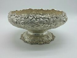 S. Kirk And Son Sterling Silver Repousse Hand Decorated Fruit Pedestal Bowl 42a J4