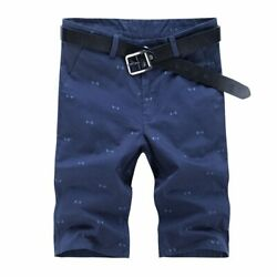 Men Cotton Slim Print Pattern Solid Color Joggers Trousers Knee Length Shorts $25.99
