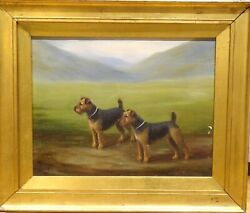 1929 Portrait Of A Pair Of Airedale Terrier Dogs Portrait by Henry CROWTHER